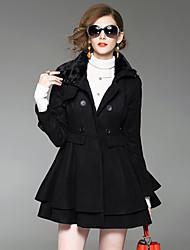 preiswerte -Damen Solide Einfach Street Schick Anspruchsvoll Ausgehen Lässig/Alltäglich Mantel,Hemdkragen Winter Lange Ärmel Standard Wolle Acryl