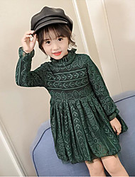 Girl's Casual/Daily Solid Dress,Cotton Polyester Fall Winter Long Sleeve