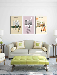 cheap -Hand-Painted Leisure Horizontal Panoramic, Artistic Birthday Modern/Contemporary Office/Business Christmas New Year's Canvas Print Home
