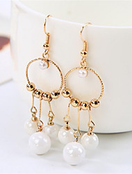 Women's Hoop Earrings Geometric Fashion Imitation Pearl Gold Plated Jewelry For Wedding Office & Career