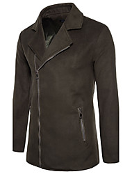 Men's Daily Club Plus Size Simple Vintage Casual Winter Fall Leather Jacket,Solid Stand Long Sleeve Regular Nylon