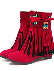 cheap -Women's Shoes Nubuck leather Fall Winter Comfort Novelty Fashion Boots Bootie Boots Wedge Heel Pointed Toe Booties/Ankle Boots Tassel For