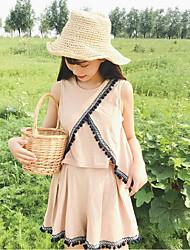 abordables -Mujer Simple Casual/Diario Verano Tank Top Pantalón Trajes,Escote Redondo Un Color Sin Mangas Microelástico