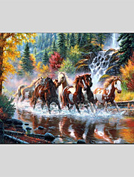 cheap -Hand-Painted Animals Horizontal Panoramic, Other Canvas Oil Painting Home Decoration One Panel