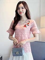 cheap -Women's Daily Casual Blouse,Embroidery V Neck Short Sleeves Cotton Polyester