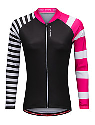 cheap -WOSAWE Cycling Jersey Women's Long Sleeves Bike Jersey Top Breathability Polyester Stripe Autumn/Fall Spring Mountain Cycling Road
