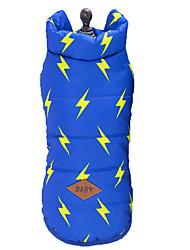 baratos -Gato Cachorro Casacos Colete Roupas para Cães Geométrica Azul Azul marinho Algodão Náilon Ocasiões Especiais Para animais de estimação