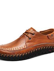 abordables -Homme Chaussures Cuir Printemps / Automne Confort Oxfords Noir / Brun Foncé