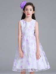 cheap -Ball Gown Knee Length Flower Girl Dress - Organza Sleeveless Jewel Neck with Embroidery Sash / Ribbon Ruching by YDN