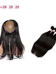 cheap -Malaysian Hair Classic Remy Human Hair 3 Bundles With  Closure Human Hair Weaves Natural Black Human Hair Extensions