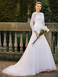 cheap -A-Line Jewel Neck Sweep / Brush Train Lace Satin Tulle Wedding Dress with Appliques Lace by LAN TING BRIDE®