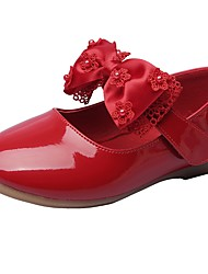 cheap -Girls' Shoes Leatherette Spring Fall Comfort Flower Girl Shoes Flats Bowknot Magic Tape For Wedding Dress Red Beige Black White
