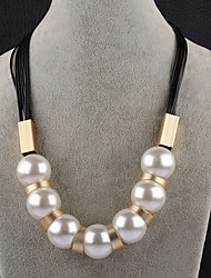 Women's Chain Necklaces Imitation Pearl Round Imitation Pearl Oversized Fashion Jewelry For Party Stage
