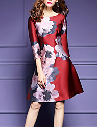 cheap -Women's Going out Sheath Dress,Solid Round Neck Knee-length 3/4 Length Sleeves Polyester Summer Fall Mid Rise Micro-elastic Medium