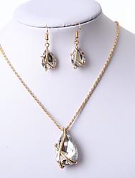 cheap -Women's Jewelry Set Earrings Necklace - Geometric White Black Dark Blue Red Drop Earrings Necklace For Wedding Date