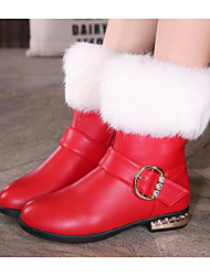Girls' Shoes PU Fall Winter Snow Boots Boots For Casual Red Black White