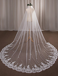 cheap -One-tier Wedding Veil Chapel Veils With Applique Lace Tulle Wedding Accessories