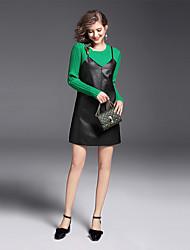 Dámské Jednobarevné Běžné/Denní Práce Jednoduchý Šaty Obleky-Podzim Kulatý Dlouhý rukáv