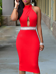 Women's Party Sexy Simple Sophisticated Bodycon DressSolid Halter Knee-length Sleeveless Polyester Spring Summer Mid Rise Micro-elastic