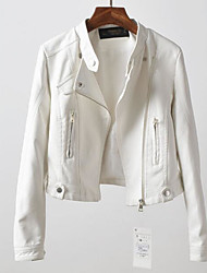 Women's Going out Simple Fall Leather Jacket,Solid Stand Long Sleeve Short PU