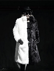 cheap -Men's Party Simple Casual Winter Fur Coat,Solid Shirt Collar Long Sleeve Long Faux Fur
