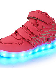 Girls' Shoes Real Leather Spring Fall Light Up Shoes Comfort Novelty Sneakers Magic Tape LED For Casual Outdoor Blushing Pink Blue Green