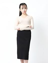 Camicia Da donna Ufficio Casual Vintage Sensuale Moda città sofisticato Autunno Inverno,Tinta unita A V Cashmere Manica lunga Medio