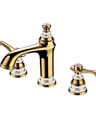 Luxury Classical Widespread High Quality Brass Valve Two Handles Three Holes Ti-PVD , Bathroom Sink Faucet
