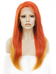 Women Synthetic Wig Lace Front Long Straight Orange Partial/Half Wigs Middle Part Sew in Ombre Hair Natural Hairline Drag Wig Party Wig