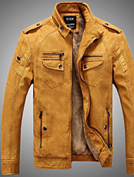 Men's Daily Simple Casual Winter Fall Leather Jacket,Solid Stand Long Sleeve Regular Modal