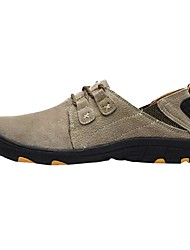 cheap -Men's Shoes Pigskin Spring Fall Comfort Athletic Shoes Hiking Shoes Lace-up for Casual Gray Coffee Khaki
