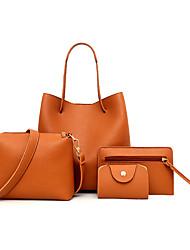 economico -Donna Sacchetti PU (Poliuretano) sacchetto regola Set di borsa da 4 pezzi Cerniera per Shopping Casual Per tutte le stagioni Nero Rosso