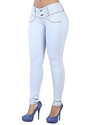 abordables -Mujer Microelástico Ajustado Pantalones, Un Color Poliéster Invierno Otoño
