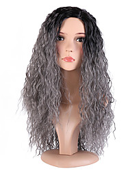 cheap -Women Synthetic Wig Capless Long Deep Wave Black/Grey Side Part Ombre Hair Dark Roots Cosplay Wig Costume Wig