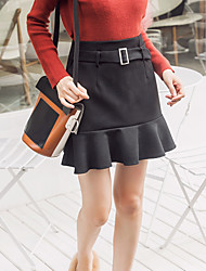 cheap -Women's Daily Work Going out Above Knee Skirts Solid Winter Fall