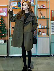 cheap -Women's Daily Simple Casual Winter Coat,Solid Peter Pan Collar Long Sleeve Regular Cashmere Cotton