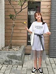 abordables -Mujer Simple Casual/Diario Verano T-Shirt Falda Trajes,Escote Redondo Ajedrez Letra Manga Corta Microelástico