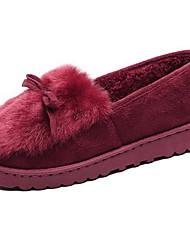 Для женщин Обувь Кашемир Зима Удобная обувь Мокасины и Свитер На плоской подошве Круглый носок Бант Назначение Повседневные Черный Серый