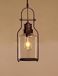 Недорогие -чердак старинные стеклянные подвесные светильники черный металлический столовая подвеска фары бар одежда магазин светильник