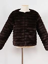 economico -Giubbino e cappotto Da ragazza Pelliccia sintetica Tipi di pellicce speciali Tinta unita Inverno Manica lunga