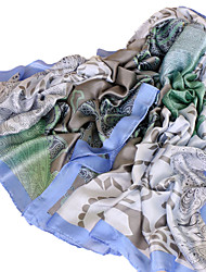 Women's 55%Wool30%Silk15%linen Rectangle Jacquard Spring/Fall All Seasons