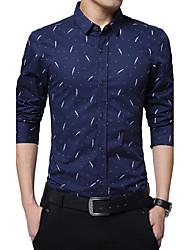 Men's Daily Work Casual Spring Fall Shirt,Print Shirt Collar Long Sleeves Polyester Medium