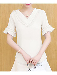 cheap -Women's Daily Casual Blouse,Solid V Neck Half Sleeves Cotton Polyester