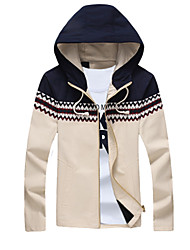 cheap -Men's Long Jacket - Solid Colored Stand