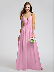 cheap -Product Sample A-Line Princess Spaghetti Straps Floor Length Chiffon Bridesmaid Dress with Criss Cross Side Draping by LAN TING BRIDE®
