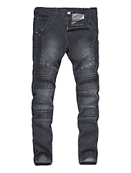 Men's Mid Rise Micro-elastic Skinny Jeans Pants,Vintage Boho Punk & Gothic Solid Cotton All Seasons
