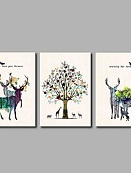 Peint à la main Vacances Artistique Inspiré de la nature Anniversaire Moderne/Contemporain Bureau / Affaires Cool Noël Nouvel An Trois