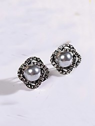 cheap -Women's Rhinestone / Pearl Gray Pearl / Pink Pearl Stud Earrings / Hoop Earrings - Gray / Pink Geometric Earrings For Daily / Casual