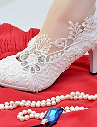 Women's Shoes Lace Leatherette Spring Fall Comfort Wedding Shoes Round Toe Rhinestone Applique Imitation Pearl For Wedding Party & Evening