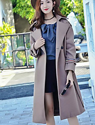 cheap -Women's Daily Going out Street chic Winter Fall Coat,Solid Peaked Lapel Long Wool